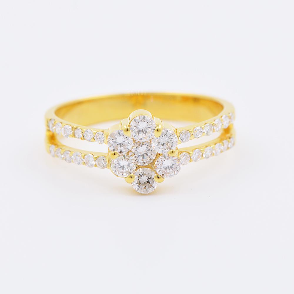 แหวนทอง 18 k เกาะเพชร